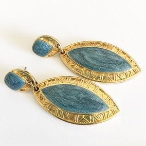 Vintage Edgar Berebi Enamel Gold Tone Earrings